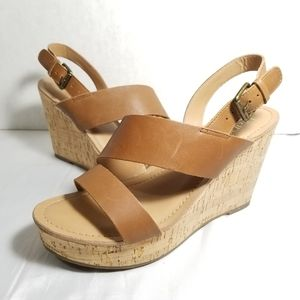 Franco Sarto Leather Wedge Sandles Womens Size 7
